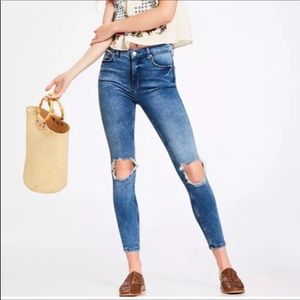 Free People High Rise Busted Knee Skinny Jeans 28